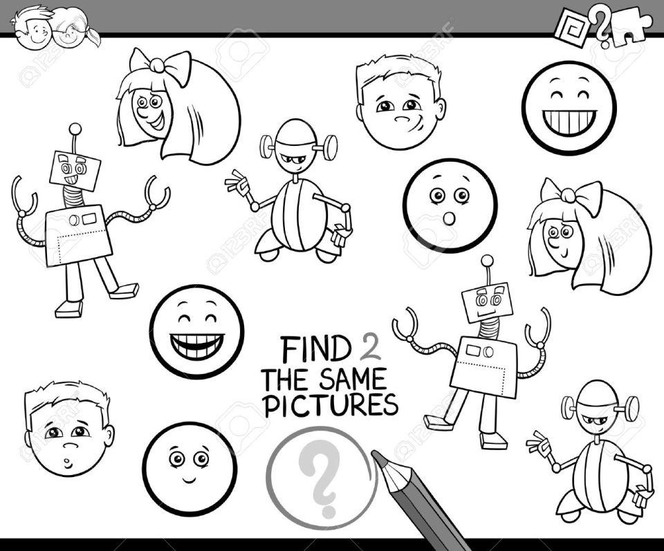 幼稚園児が塗り絵検索同一の写真教育活動タスクの黒と白の漫画イラストの