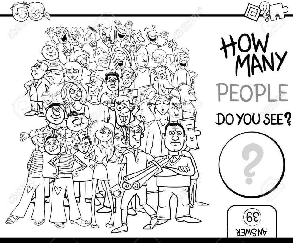 塗り絵人文字群衆の中に子供のため教育を数える作業の黒と白の漫画