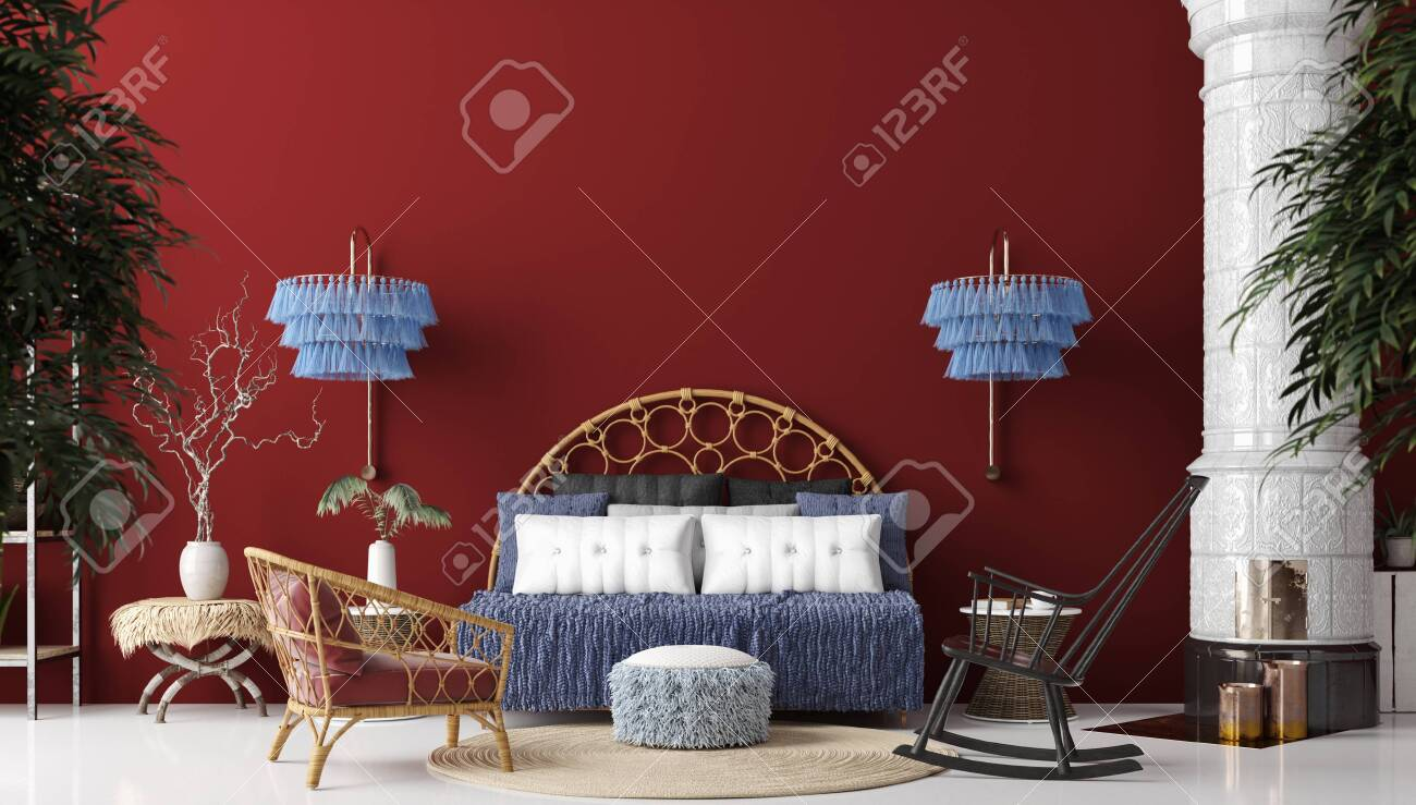 Living Room Interior In Bohemian Style Panoramic View 3d Render