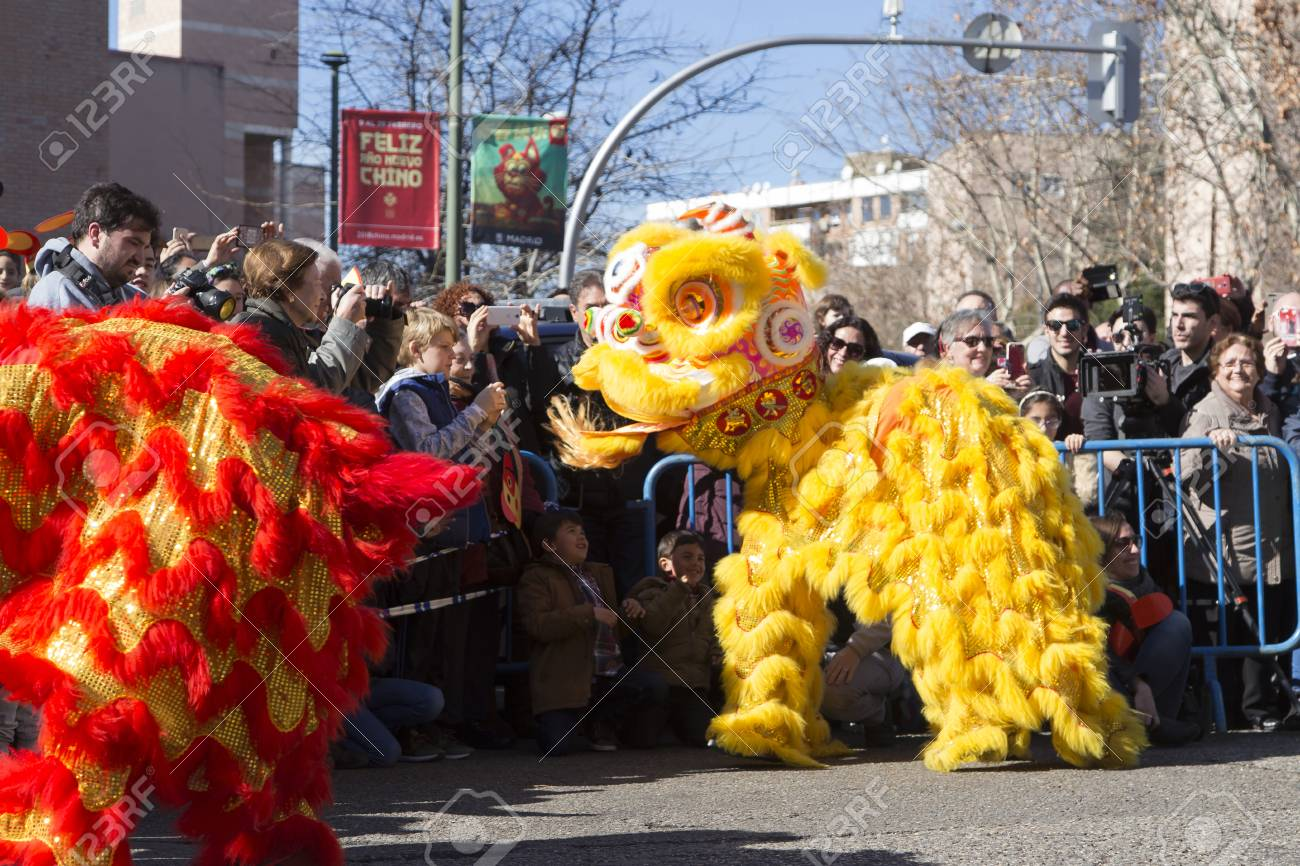 MADRID  SPAIN   FEBRUARY 18th 2018  Chinese New Year Parade In     MADRID  SPAIN   FEBRUARY 18th 2018  Chinese New Year parade in the Usera  neighborhood