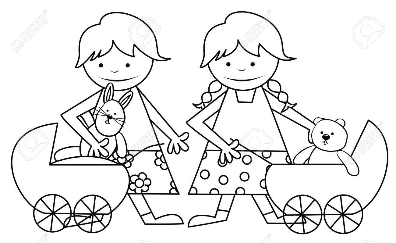 girls and toys coloring book royalty free cliparts vectors and