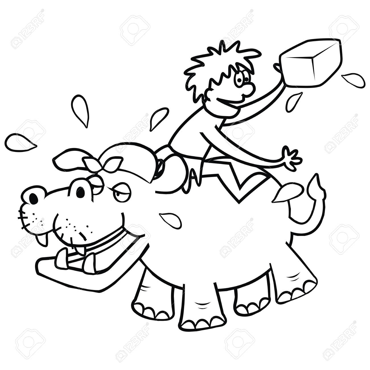 Hippo And Veterinary Funny Illustration Coloring Page Royalty