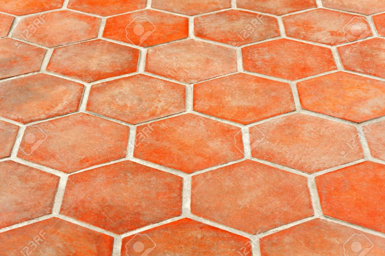 dirty tangerine hexagon terracotta floor tiles