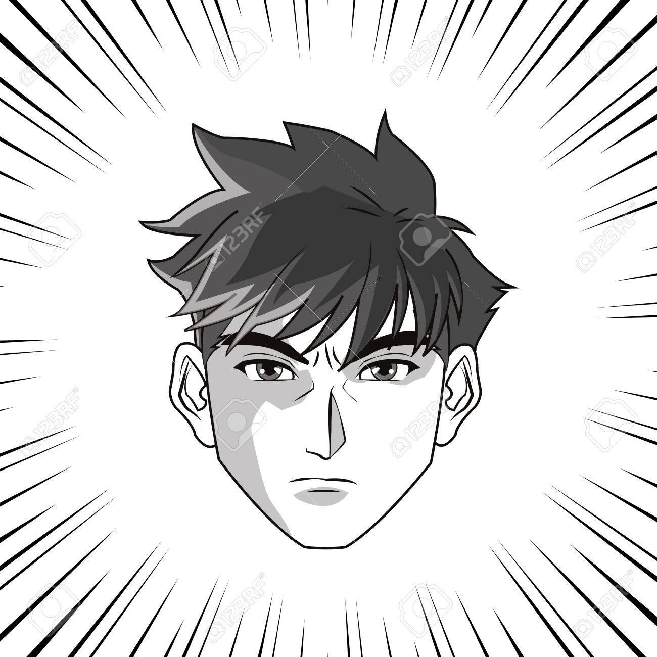 anime garcon ou homme icone de bande dessinee manga et la conception comique design noir et blanc vector illustration