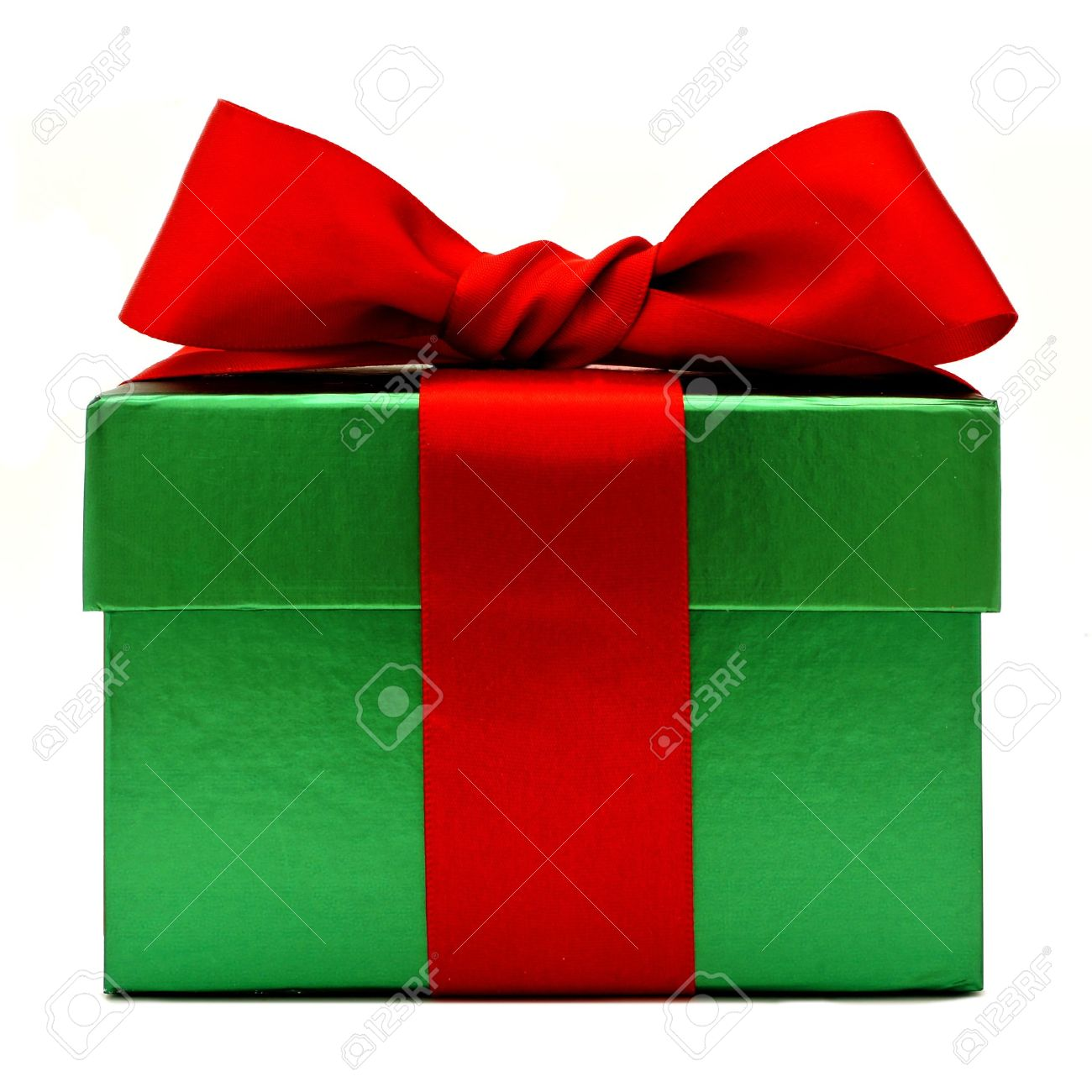 Green Christmas Gift Box With Red Bow Isolated On White Stock Photo Picture And Royalty Free Image Image 23835271