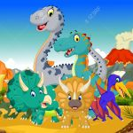 Funny Dinosaur Cartoon In The Jungle With Landscape Background Royalty Free Cliparts Vectors And Stock Illustration Image 61914163