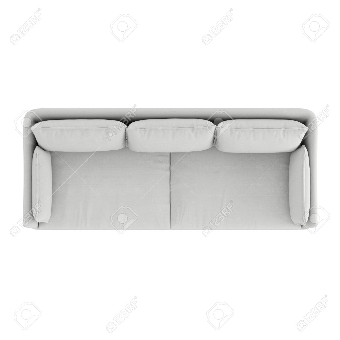 white cloth sofa top view on isolated background 3d rendering
