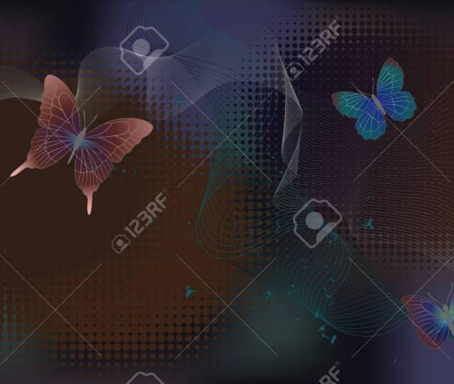 Desktop Wallpaper Background With Butterflies Vector Graphics Stock Vector