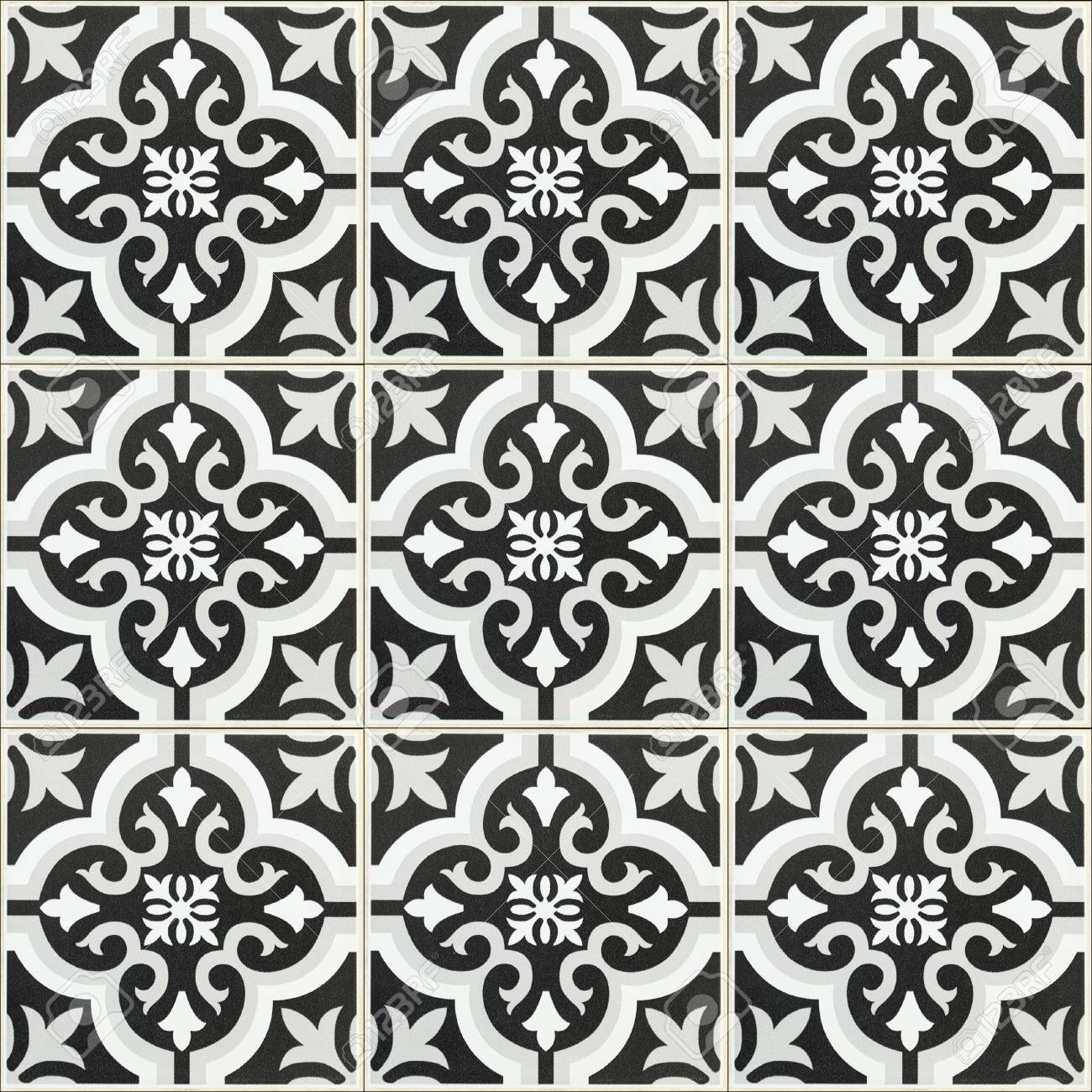it is black and white ceramic tile texture for background and
