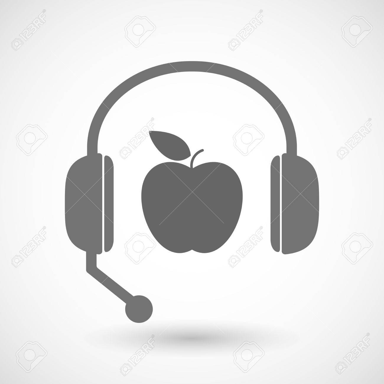 Illustration Of A Remote Assistance Headset Icon With An Apple     Illustration of a remote assistance headset icon with an apple Stock Vector    49651286