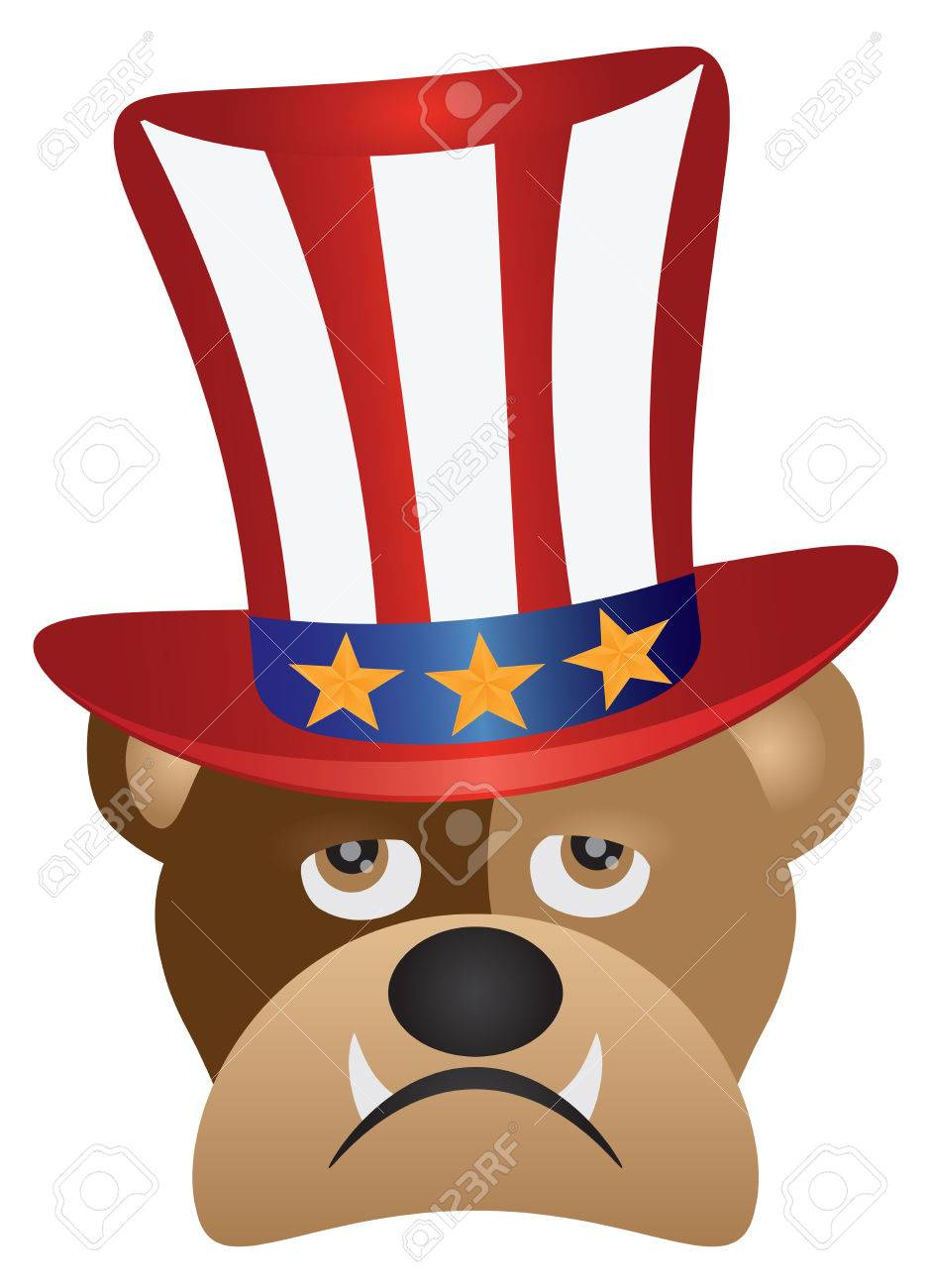 Fourth Of July Hat On English Bulldog With Red White Blue Stripes Royalty Free Cliparts Vectors And Stock Illustration Image 79649481