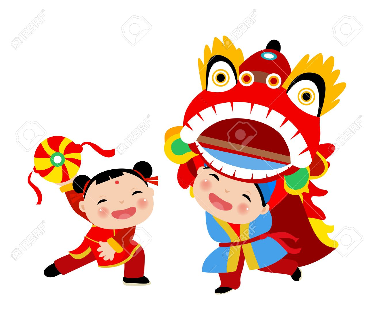 Kids Playing Lion Dance   Chinese New Year Royalty Free Cliparts     Kids playing lion dance   chinese new year Stock Vector   44506426