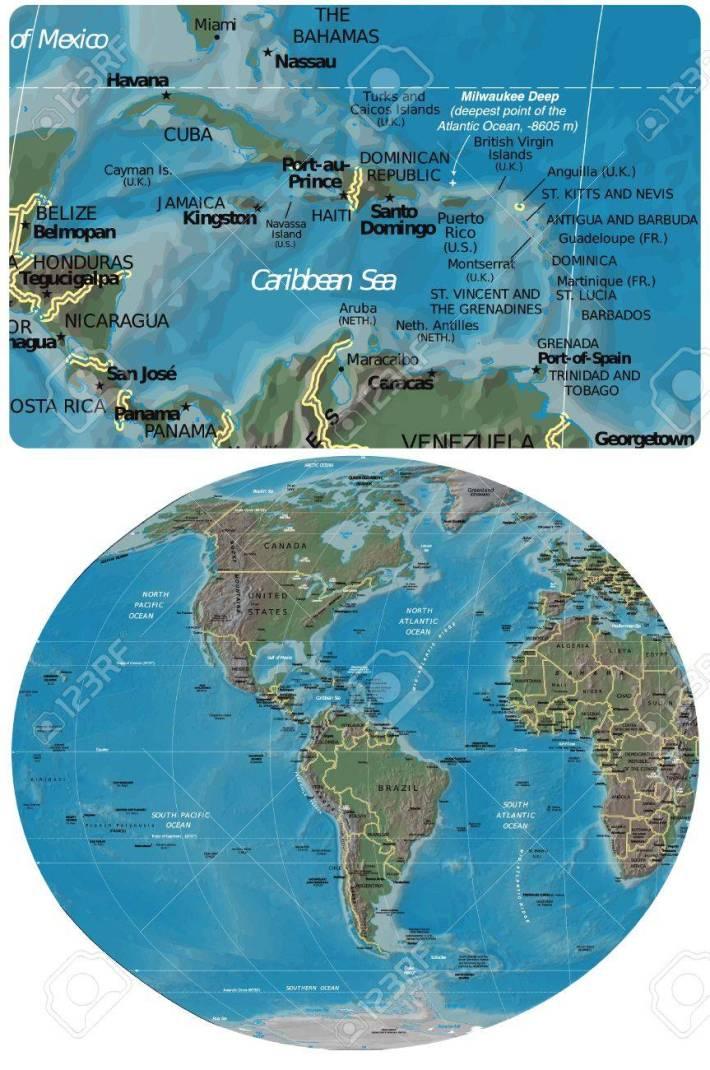cuenca del caribe y el mapa de américa