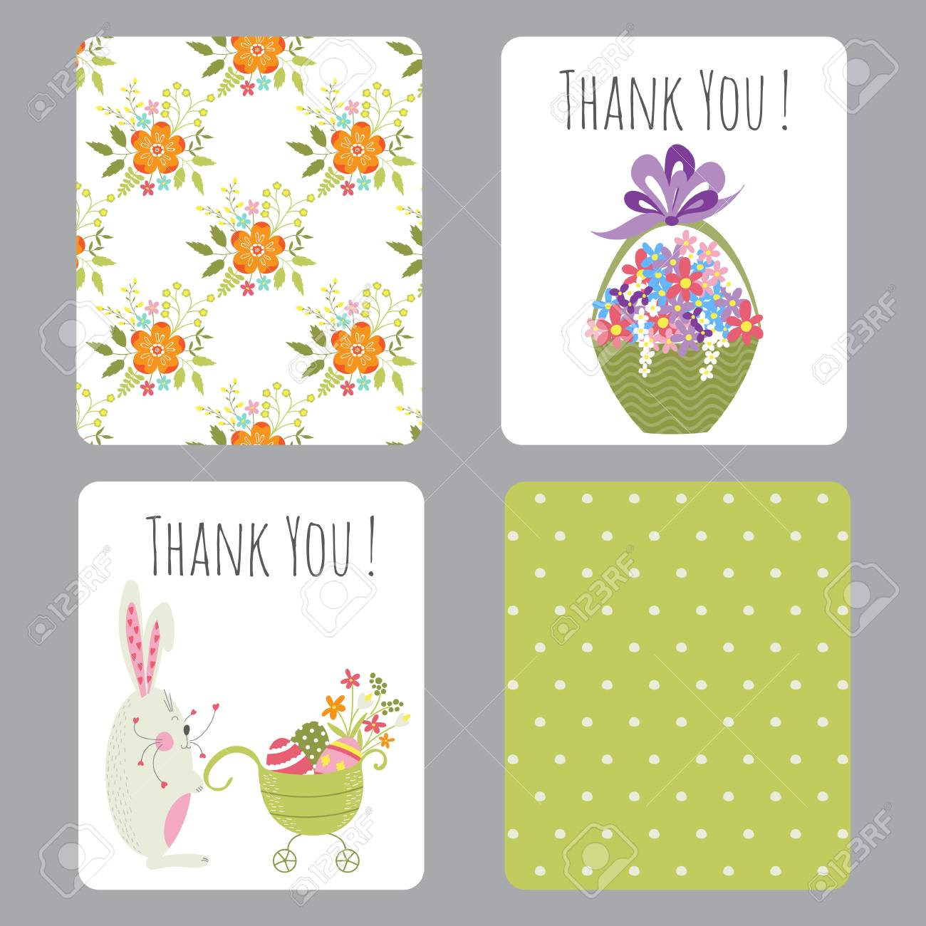 Vector Set Of Easter Small Cards With Funny Bunnies And Flowers