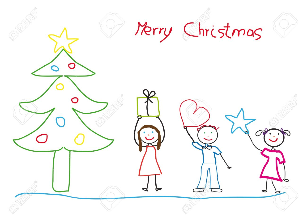 Kids Drawing With Christmas Tree And Children Royalty Free Cliparts Vectors And Stock Illustration Image 10941465