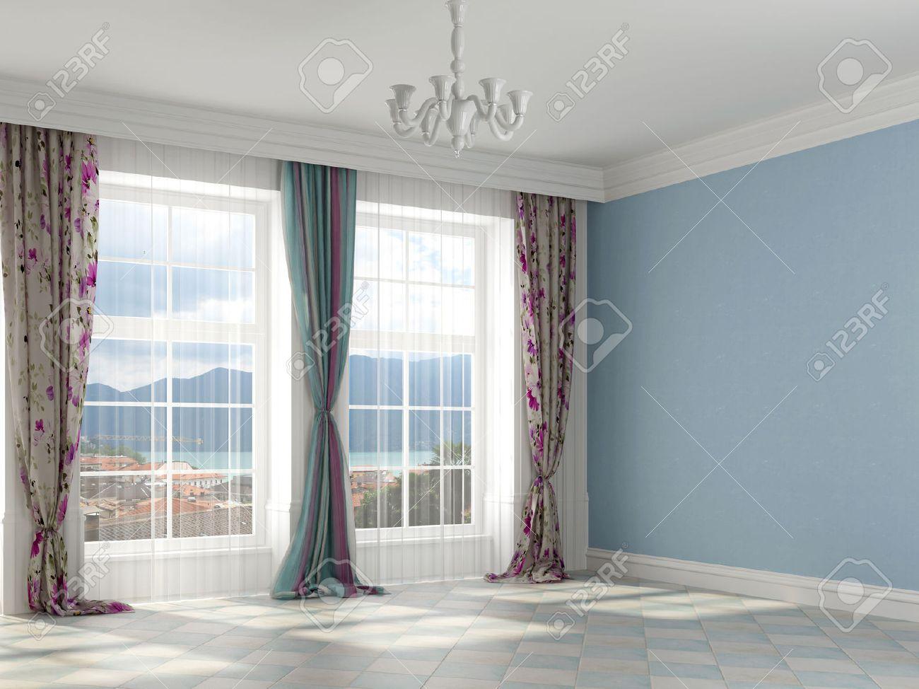 interieur colore avec des murs de couleur bleue et de rideaux colores