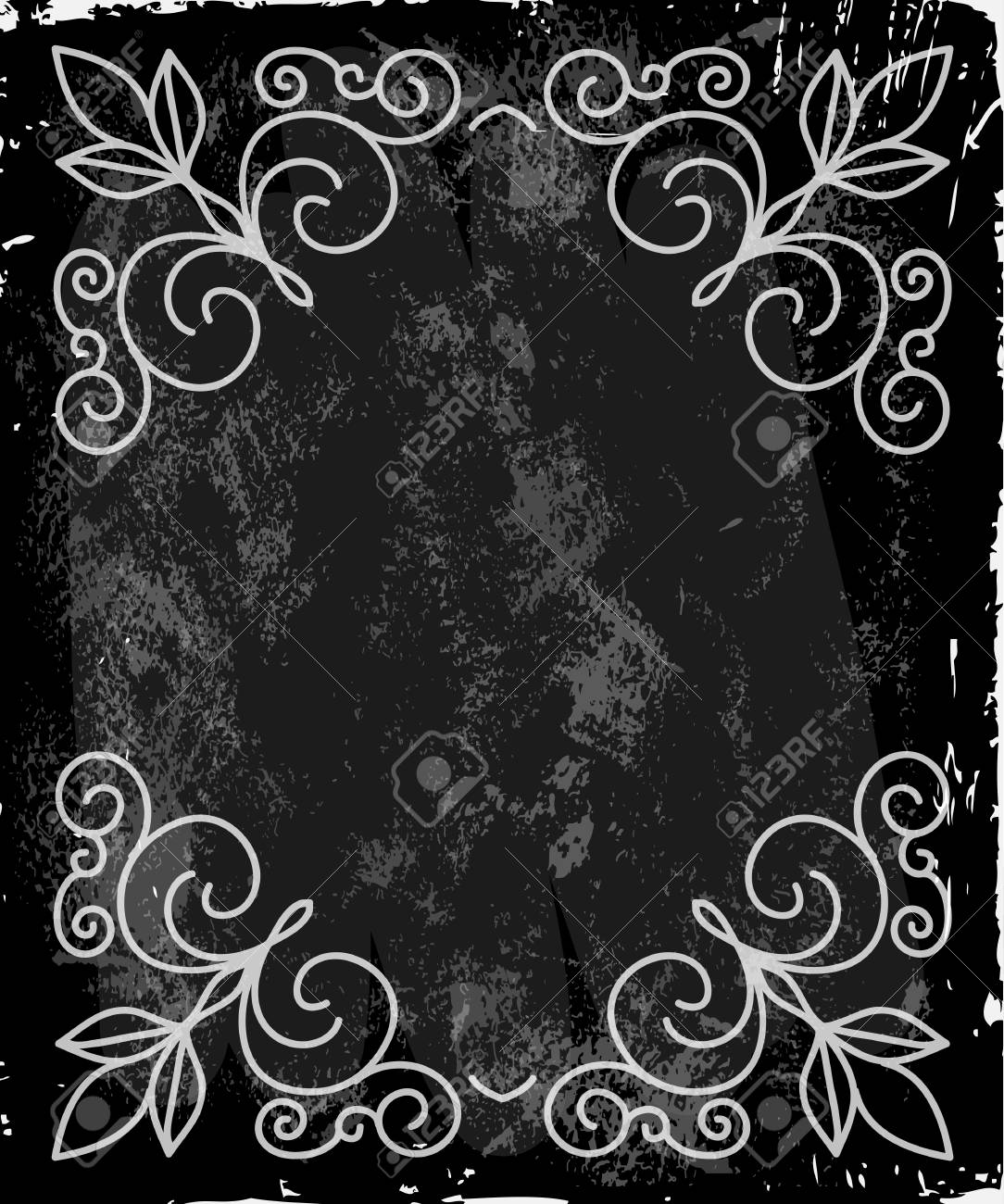 Vintage Frame With Floral Ornament With Grunge Background For