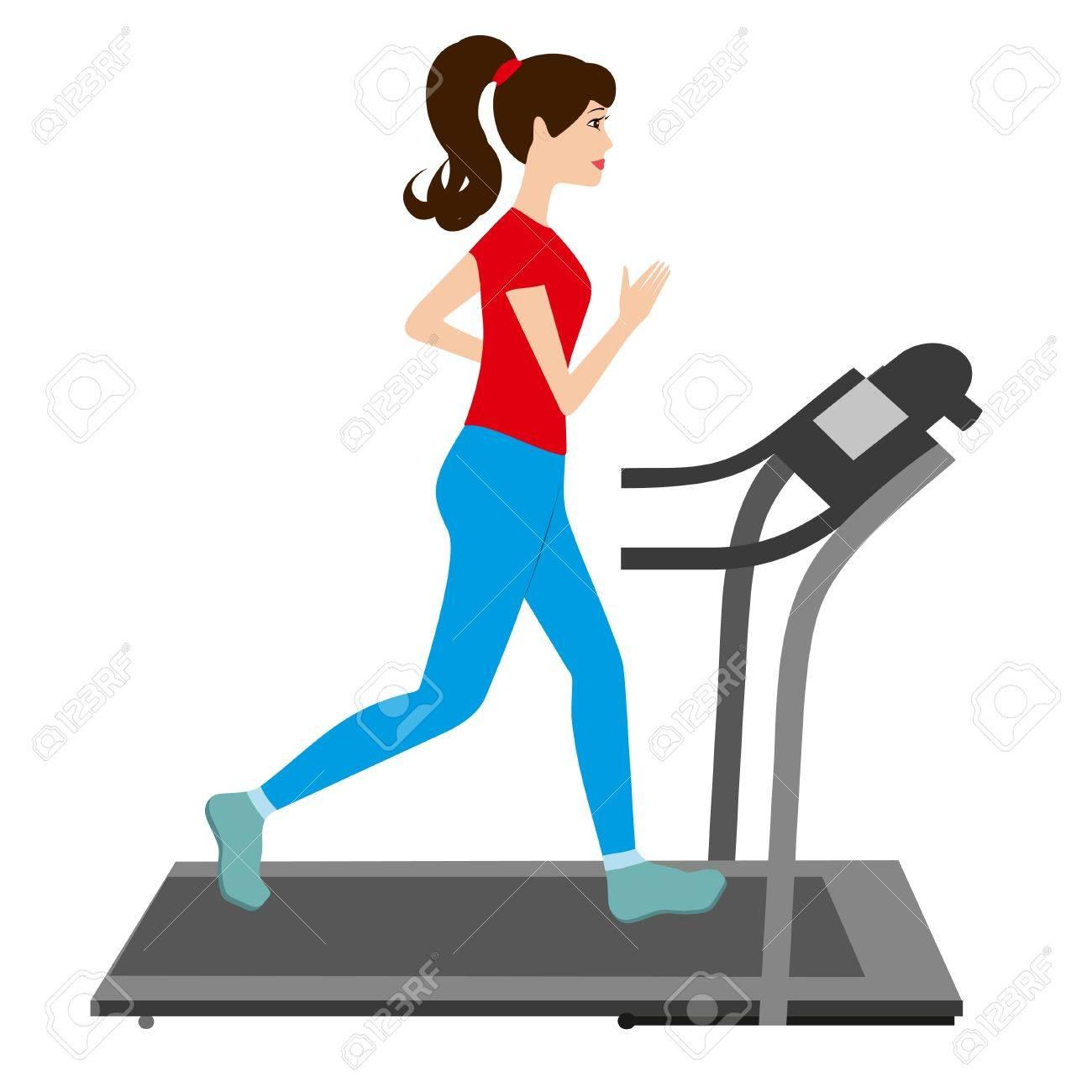jeune femme court sur un tapis roulant entraineur sportif jeune fille tapis roulant courir illustration vectorielle