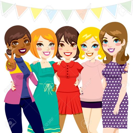 Image result for girls together at a party cartoon