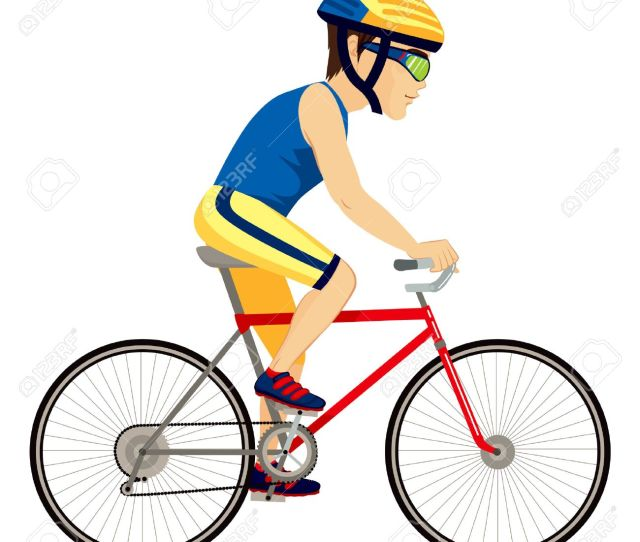 Vector Young Professional Man Cyclist Cycling Happy Riding Bike