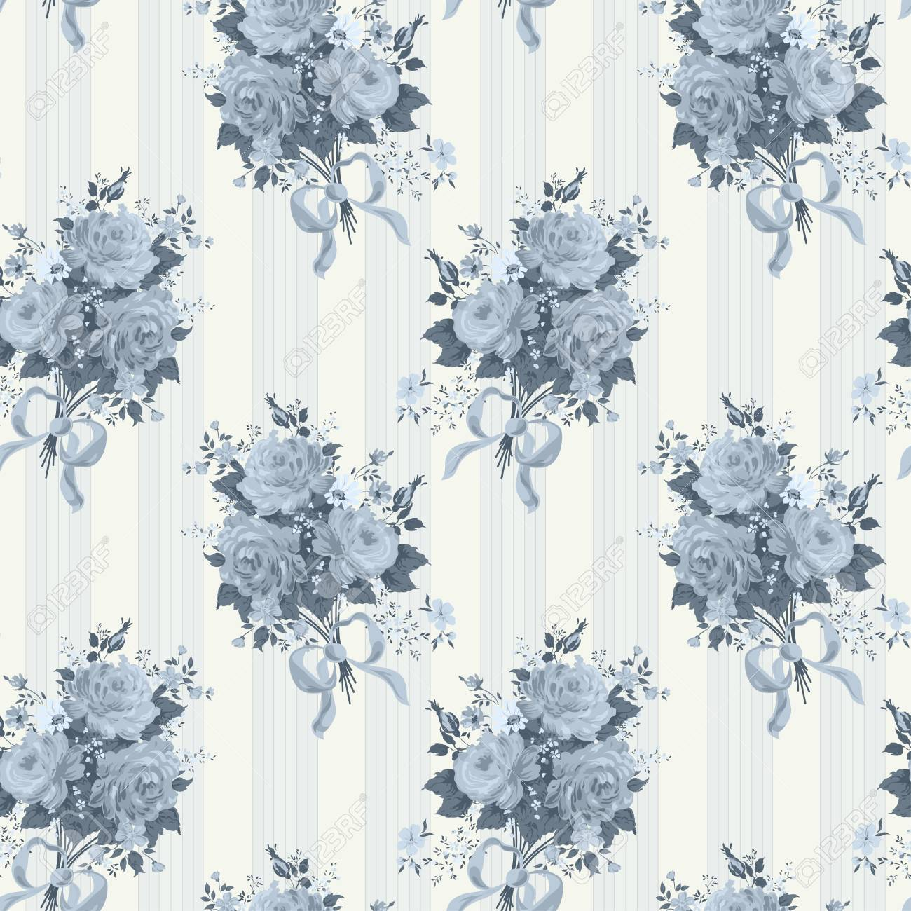 Vintage Rose Wallpaper Pattern Vector Background In Blue Royalty Free Cliparts Vectors And Stock Illustration Image 34457035