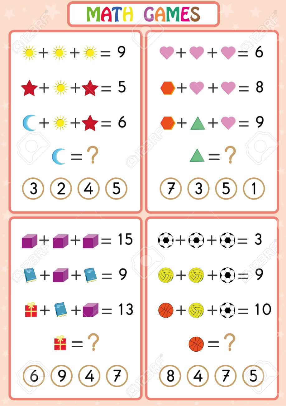 Mathematics Educational Game For Kids Fun Worksheets For Children