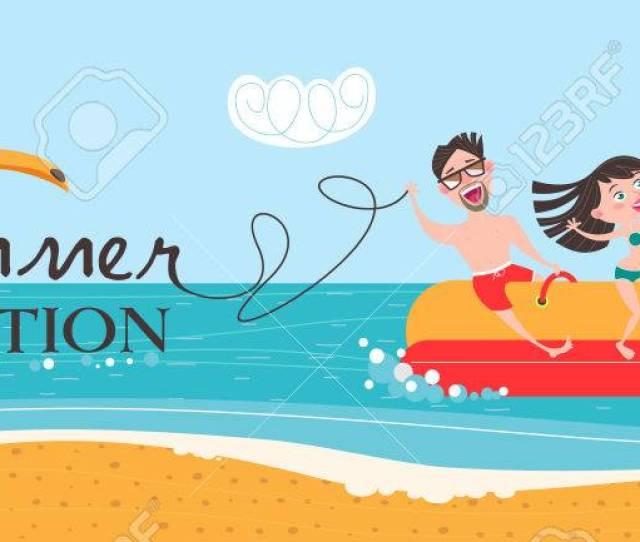 Hot Summer Vacation Beach Activities Banana Boating Swimming In The Sea Vector