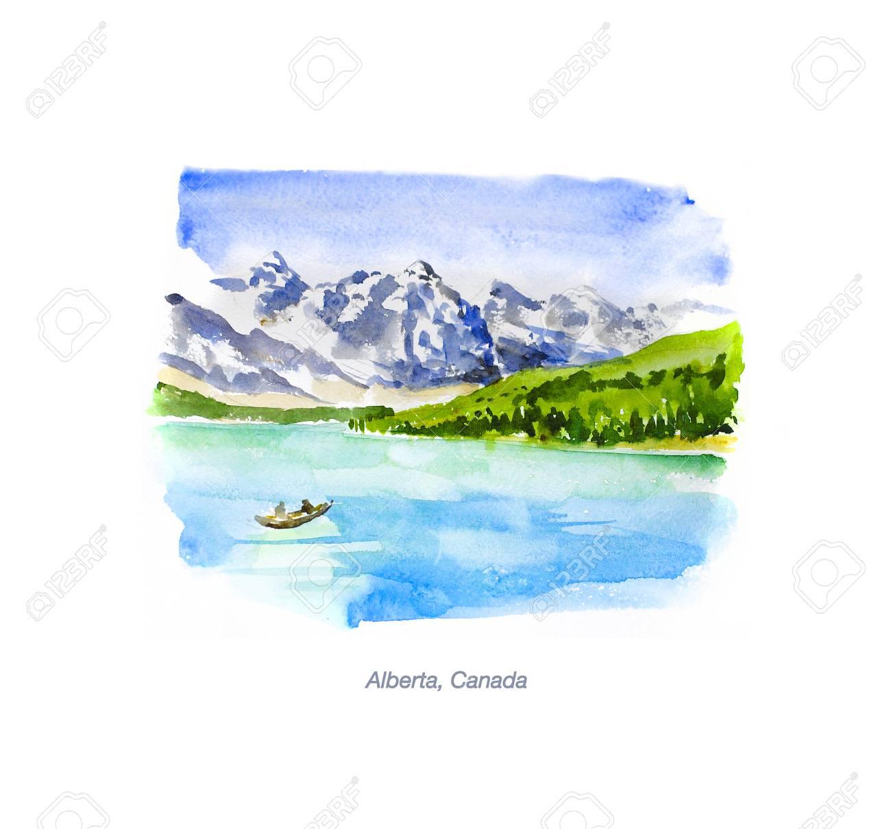 paysage aquarelle dessines a la main isole sur fond blanc illustration de la nature artistique dessin a l encre voyager tourisme touristique