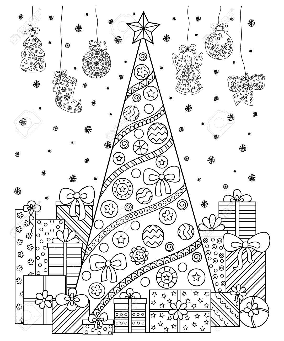 Doodle Pattern In Black And White Christmas Decorations Christmas Royalty Free Cliparts Vectors And Stock Illustration Image 65466434
