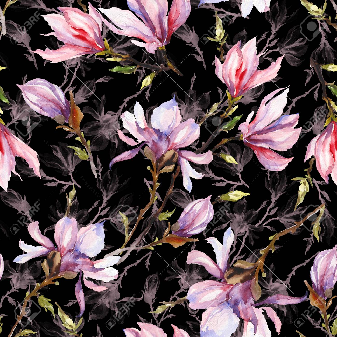 Pink Magnolia Flowers On A Twig On Black Background  Seamless     Pink magnolia flowers on a twig on black background  Seamless pattern   Watercolor painting