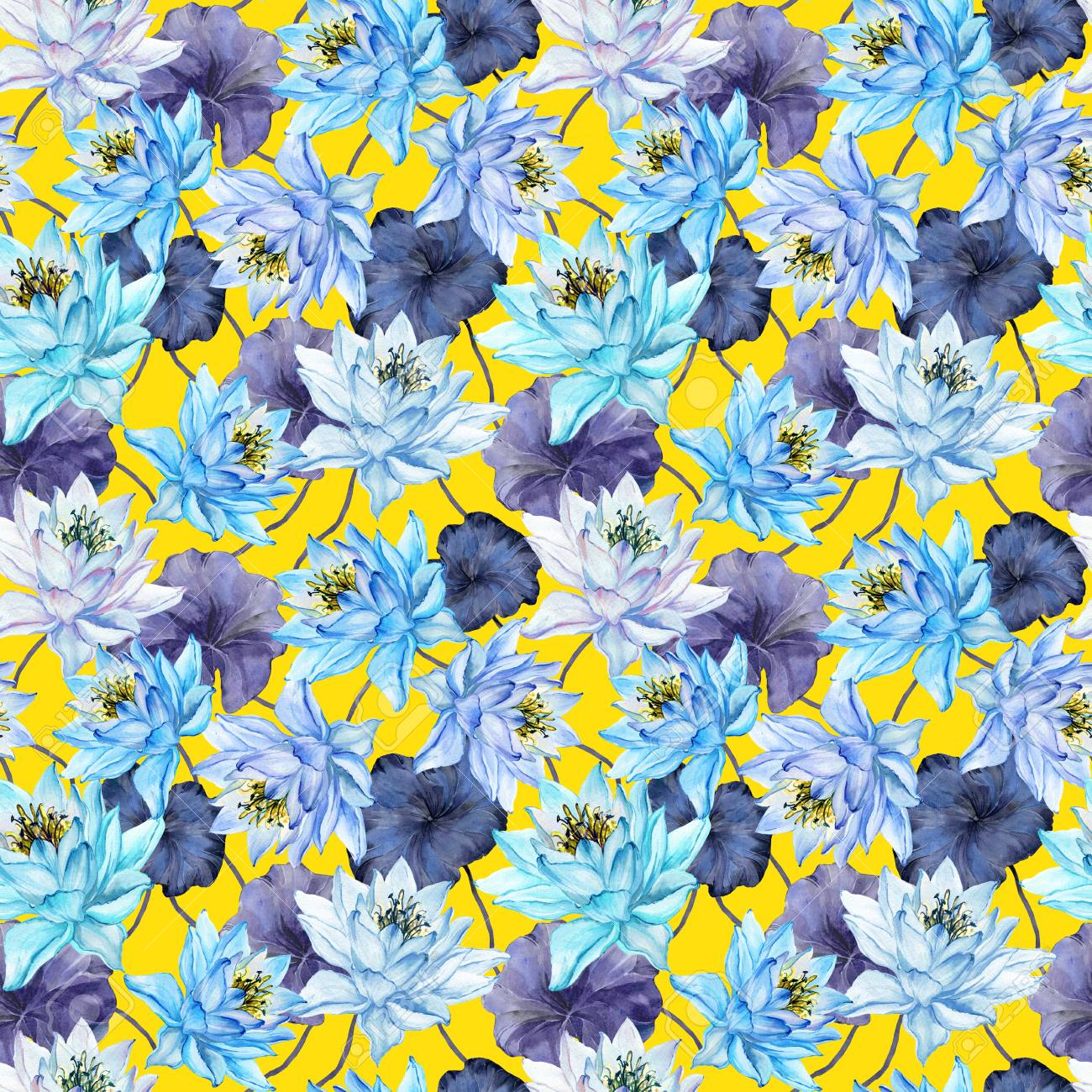 Beautiful Bright Floral Seamless Pattern Blue Lotus Flowers Stock Photo Picture And Royalty Free Image Image 97830890