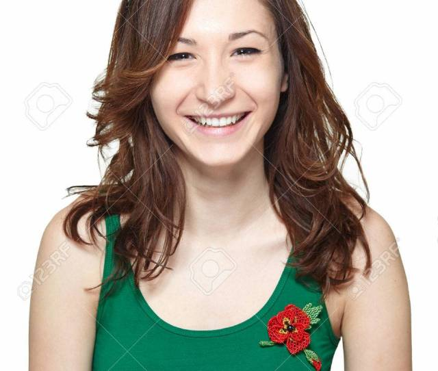 Cute Teenage Girl Smiling And Looking At The Camera Isolated On White Background Portrait Of