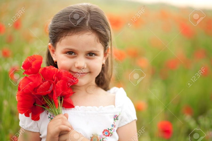 Close Up Of Cute Girl In Poppy Field Holding Flowers Bouquet     Close up of cute girl in poppy field holding flowers bouquet  Girl in  poppies
