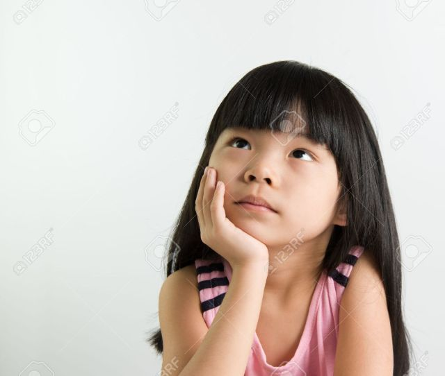 Little Asian Girl Child Thinking Over White Background Stock Photo 47837300