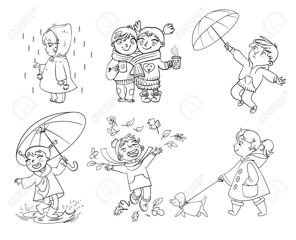 秋が大好きです。アウトドアで歩きます。傘の下の子供。レインコート