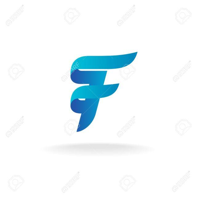 Foto De Archivo Letra F Logotipo Lineas Suaves Estilo Elegante De La Cinta De Color