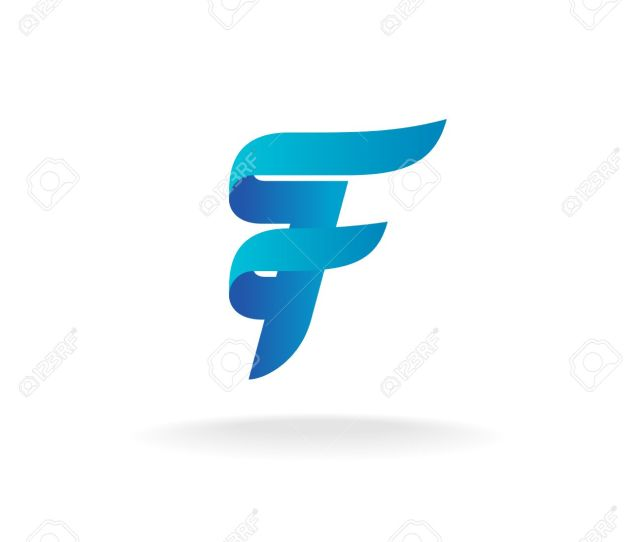 Letter F Logo Elegant Smooth Lines Color Ribbon Style Stock Vector 47973091