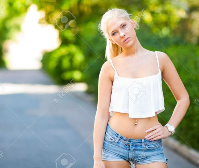 Cute Teen Girl With Top Stands In The Street Stock Photo 30540532