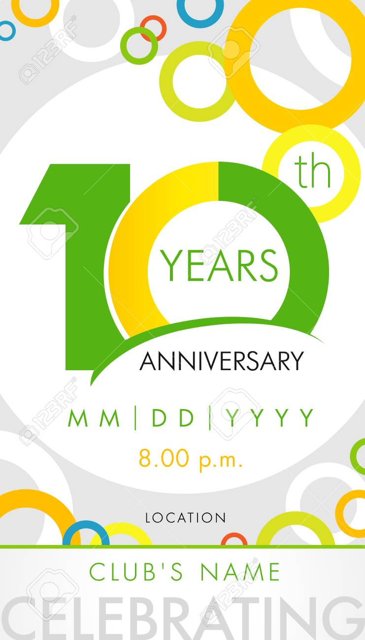 carte d invitation anniversaire 10 ans concept de modele de celebration elements de design moderne 10e anniversaire avec cercle de couleur de fond