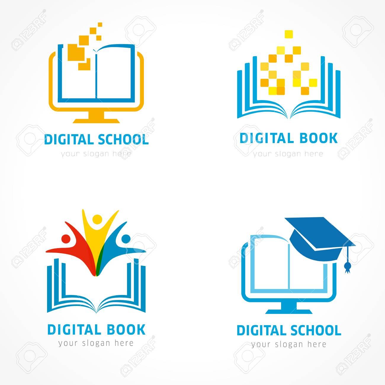 Set Of Online Education Logo Template Online Learning Pixel