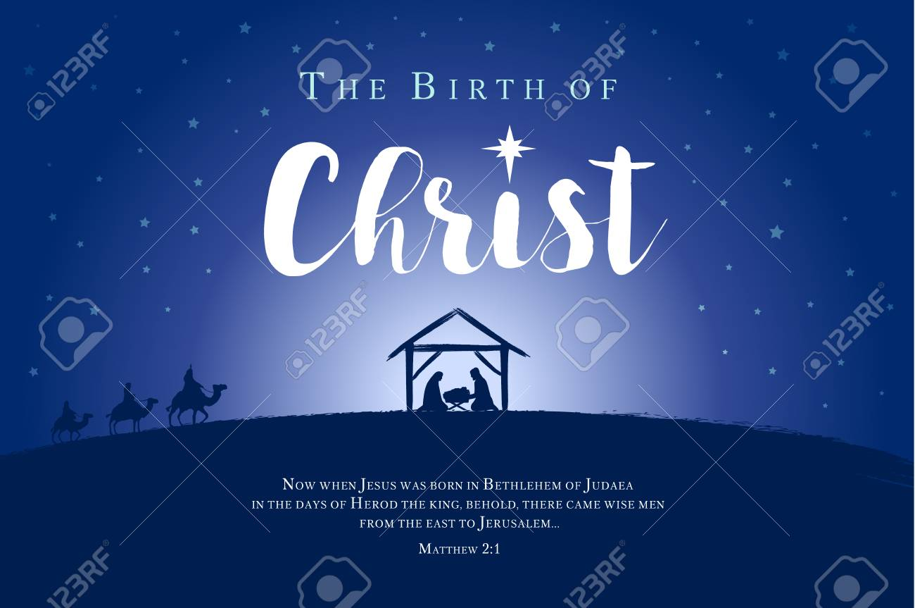 Merry Christmas Birth Of Christ Banner Jesus In The Manger Royalty Free Cliparts Vectors And Stock Illustration Image 113200993