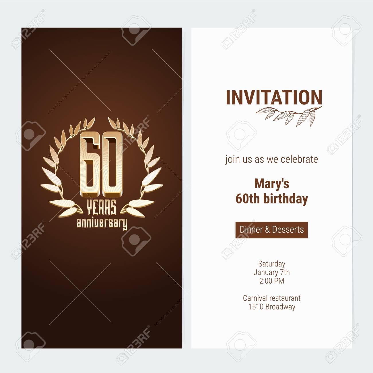 invitation d anniversaire de 60 ans pour celebrer l illustration de vecteur d evenement element de modele de conception avec le nombre d or et le