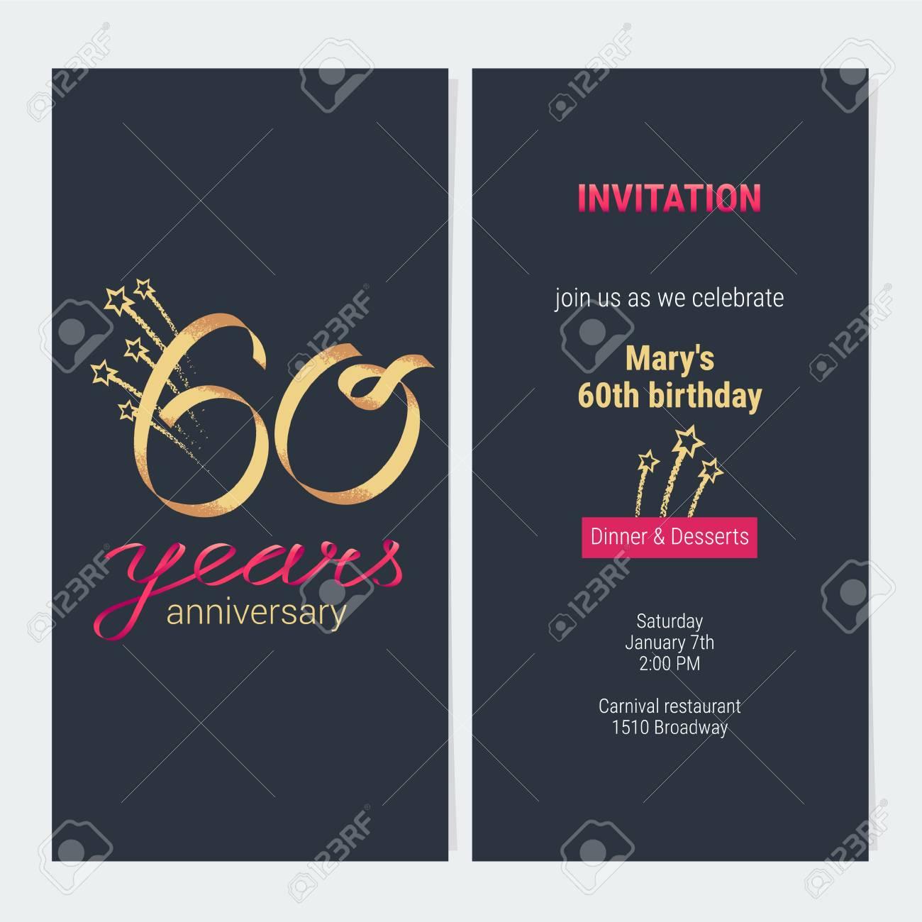 invitation anniversaire 60 ans pour celebrer l illustration vectorielle element de modele de conception avec nombre d or et texte pour 60e carte