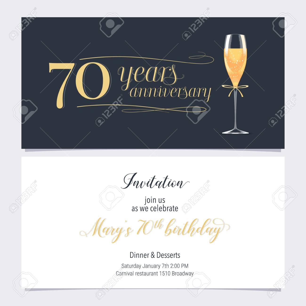 70 years anniversary invitation illustration graphic design