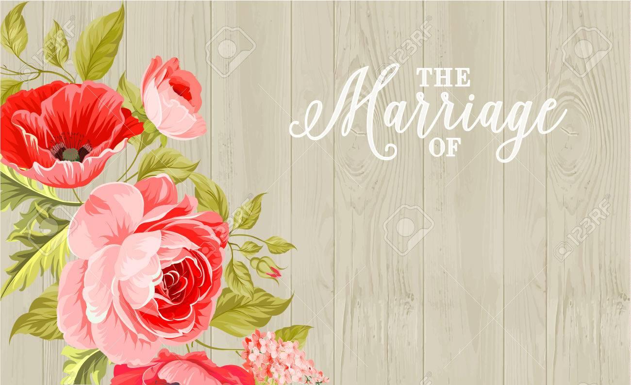 mariage carte d invitation avec le signe personnalise et le cadre de fleurs sur fond de bois vector illustration
