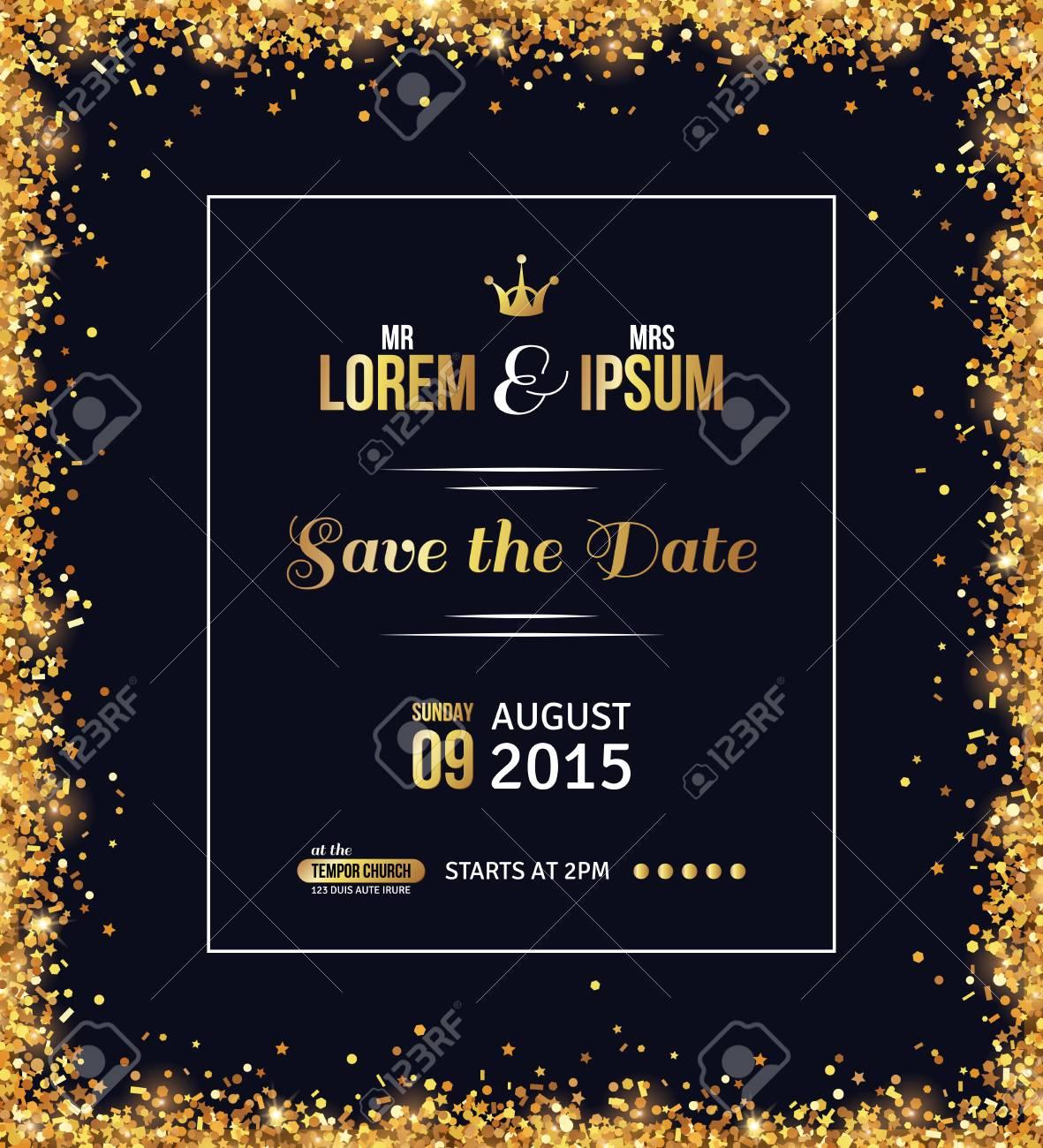wedding invitation card design gold confetti and black background