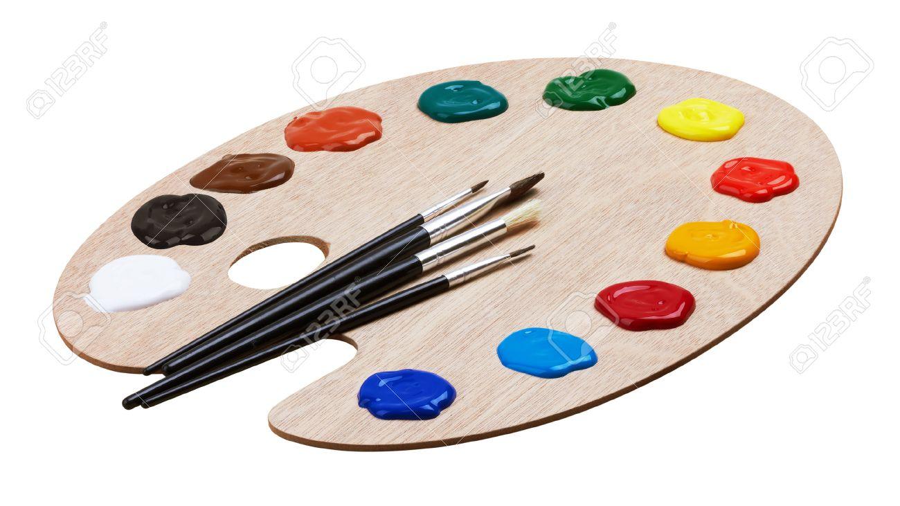 Bois Palette De L Art Avec Des Peintures Et Des Pinceaux Isole Sur Fond Blanc Banque D Images Et Photos Libres De Droits Image 48210246