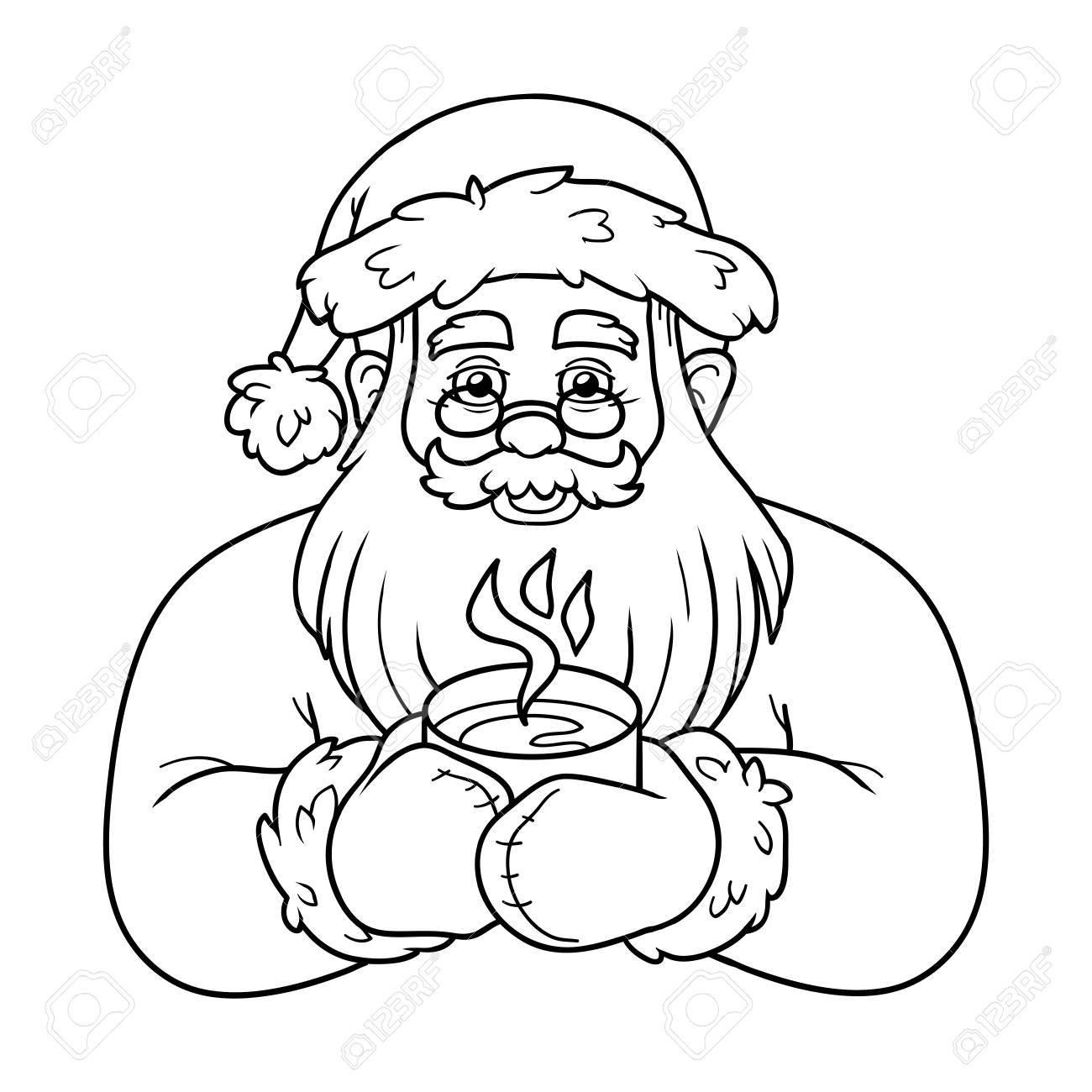 Libro Da Colorare Per Bambini Gioco Di Formazione Il Babbo Natale E Tè