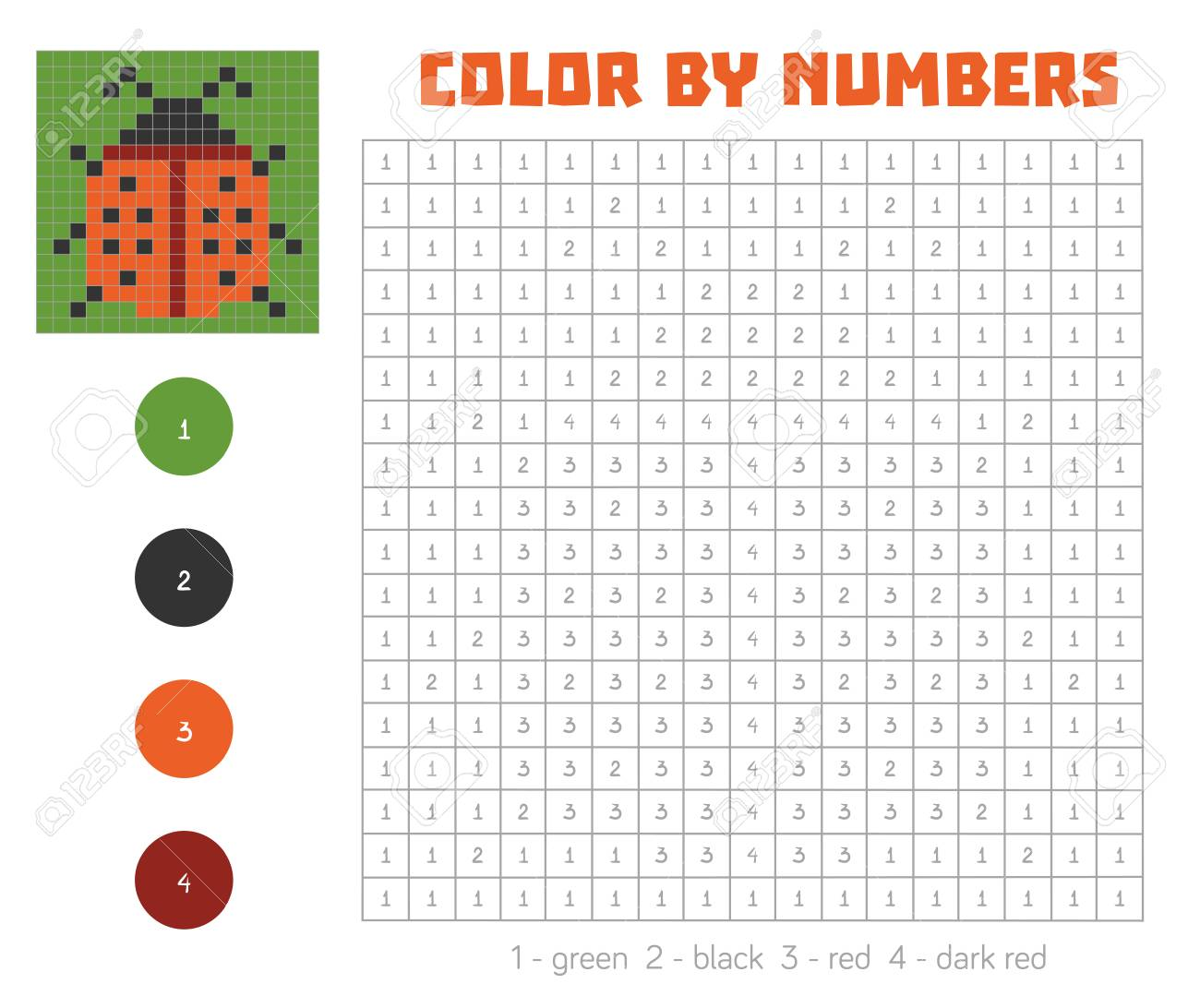 Color By Number Education Game For Children Coloring Book With Royalty Free Cliparts Vectors And Stock Illustration Image 62153372