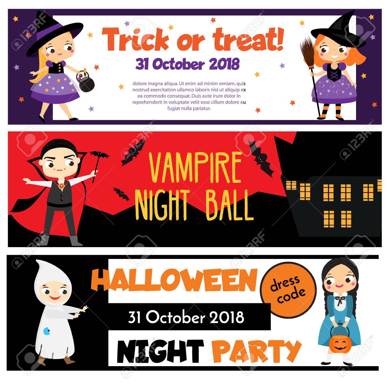 Halloween Party Banners Invitations Advertisements With Happy